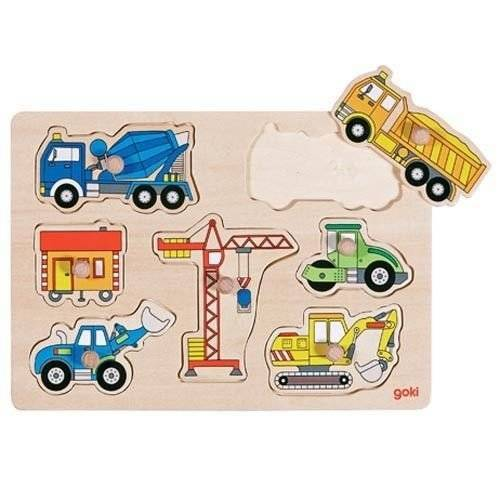 Puzzle with handles, construction machines,Goki 57593