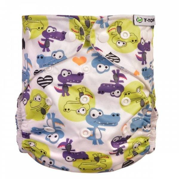 Tomi, Nappy Pocket Coolmax Crocodiles + 2 Bamboo refills