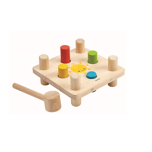 Wooden board with pins and hammer, Plan Toys®