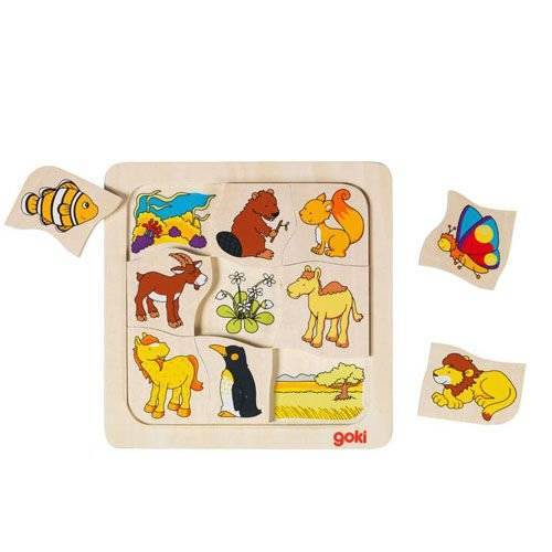 Wooden puzzle Where do pets live? GOKI-56725